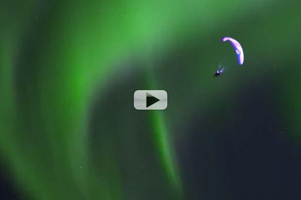 Paragliding Through Aurora Borealis' Beauty | Video