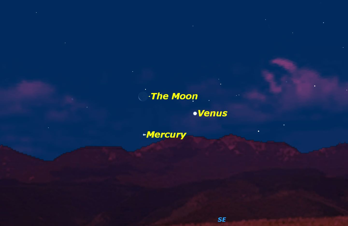 Mercury, Venus, and the Moon, February 2016