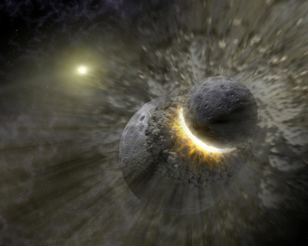 Violent Impact That Created Moon Mixed Lunar and Earth Rocks