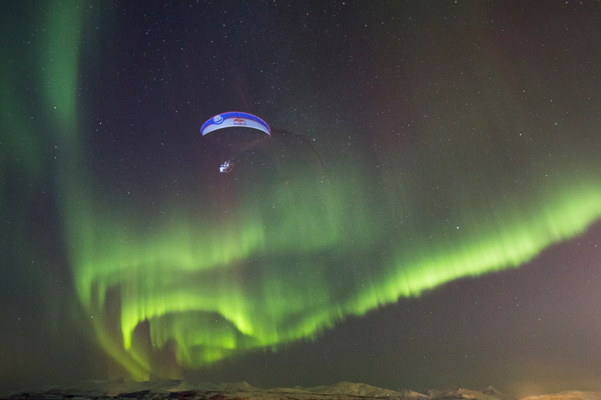 Paraglider Llorens with Northern Lights