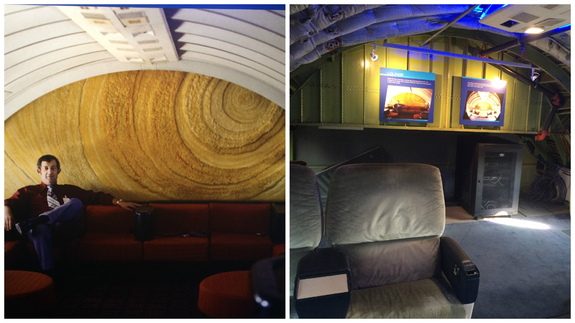 Left, the lounge of the 747 jetliner that would become NASA's 905 aircraft, used to ferry the spaceshuttle around the United States. On the right, the same area of the plane today.