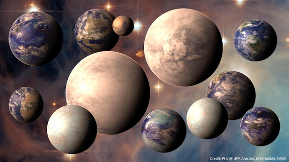 This artist's illustration shows some of the planets identified in the Habitable Planets Catalog. A telescope designed to directly image the surface of exoplanets could potentially identify more signs of habitability, or even life, on other planets.