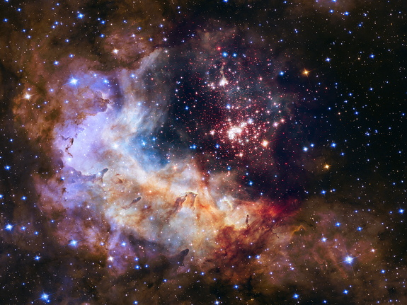 The star cluster Westerlund 2 and gas cloud Gum 29, imaged by the Hubble Space Telescope. A much larger telescope similar to Hubble has been proposed for NASA's next large-scale mission.