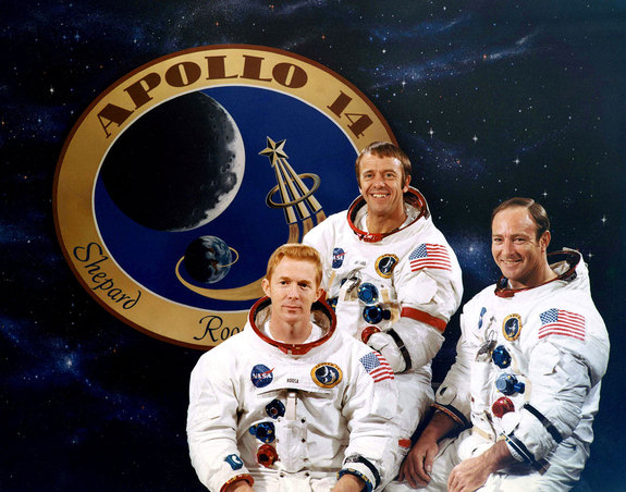 NASA's 1971 Apollo 14 crew: Stuart Roosa (left), Alan Shepard and Edgar Mitchell.