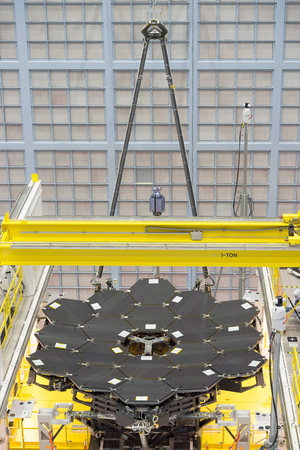 A rare view shows all 18 mirrors installed on the James Webb Space Telescope structure at NASA's Goddard Space Flight Center in Greenbelt, Maryland.