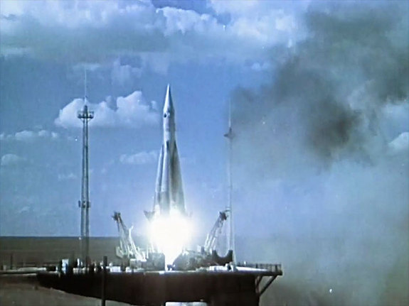 """The launch of an early Soviet R7 rocket from """"Cosmonauts: How Russia Won the Space Race,"""" airing on KCET in California on Feb. 5, 2016."""