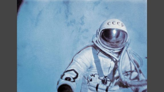 """Cosmonaut Alexei Leonov performed the world's first spacewalk in 1965 in this video still from the documentary """"Cosmonauts: How Russia Won the Space Race.'"""