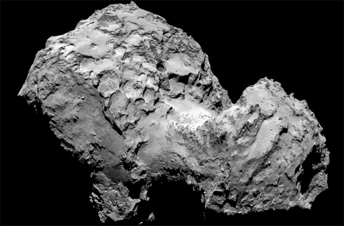 From a distance of 177 miles, or 285 km, Rosetta catches a view of comet 67P/Churyumov-Gerasimenko as it begins its mission in August 2014.