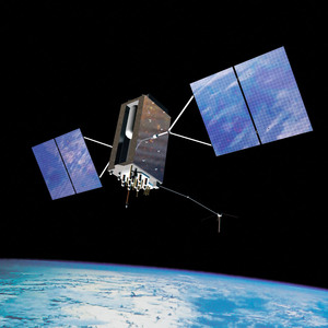 An artist's illustration of the next-generation GPS III global positioning system satellite in orbit.
