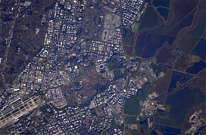 Super Bowl 50 from Space