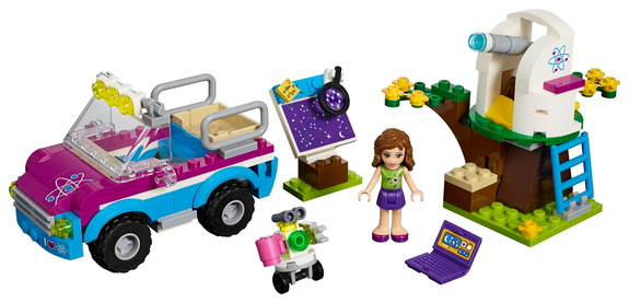 """The latest installation in the Lego """"Friends"""" product line sees Olivia and her dog riding their SUV to an observatory."""
