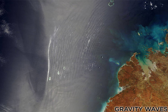 This NASA observation shows the formation of gravity waves in the atmosphere over the coast of Indonesia.