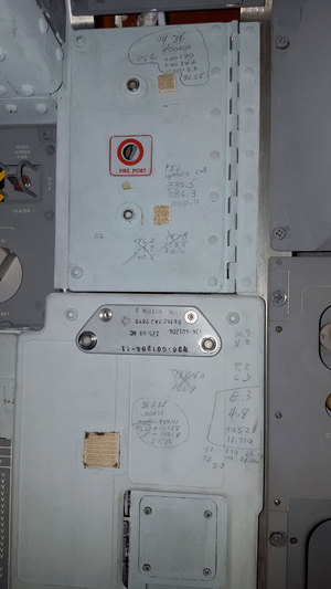 On this panel inside the Apollo 11 command module, numbers and other notations copied from mission control voice transmissions were recorded in pen or pencil, just to the left of where pilot Michael Collins would have stood using the sextant and telescope for navigation.