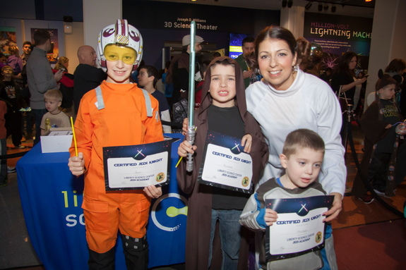 Newly certified Jedi knights pose at Liberty Science Center Feb. 12.