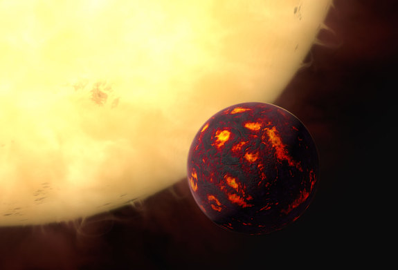 Super-Earth 55 Cancri orbits in front of its parent star in this artist's illustration.