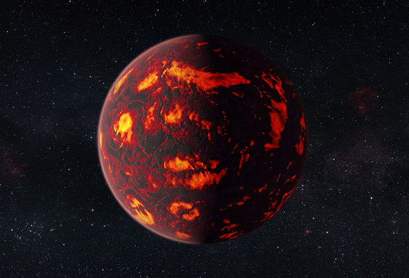 Super-Earth 55 Cancri e is depicted in a close view.
