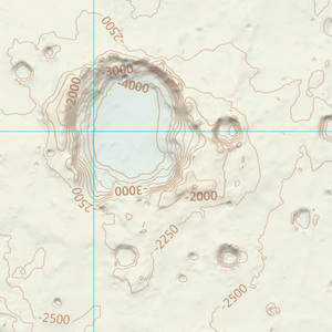 A zoomed in section of the Ordnance Survey Mars map, showing contour and height information.