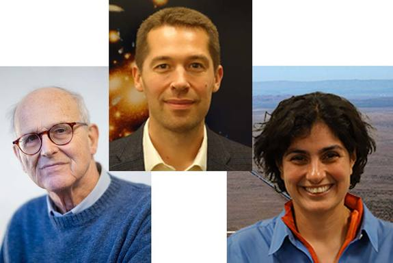 From left to right, Rainer Weiss, Matthew Evans and Nergis Mavalvala