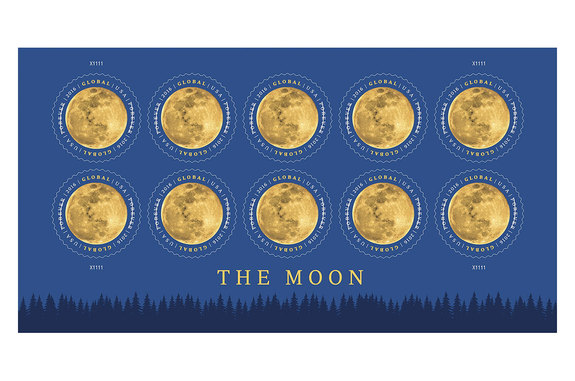 "U.S. Postal Service art director Greg Breeding designed ""The Moon"" Global Forever stamp using a photograph of the full moon by Beth Swanson."