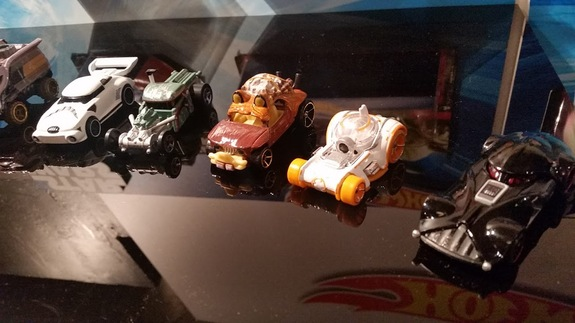 "Some of the Hot Wheels ""Star Wars"" character cars."