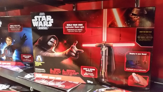 "Uncle Milton's Build Your Own Lightsaber Room Light, now with a Kylo Ren lighsaber from ""The Force Awakens."""