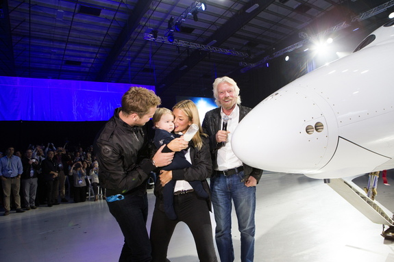 Virgin Spaceship Unity was unveiled Friday February 19th, 2016 in Mojave, California. The space vehicle was christened by Richard Branson's granddaughter, Eva-Deia.