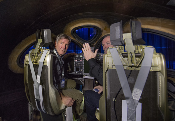 Actor and pilot Harrison Ford (left) and Virgin Galactic chief pilot Dave Mackay inside the new Virgin Spaceship Unity during its unveiling in Mojave, California, on Feb. 19, 2016.