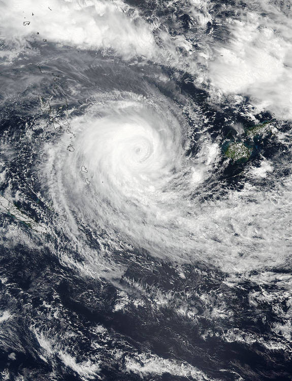 On Feb. 21, 2016 at 9:00 p.m. EST, the VIIRS instrument aboard NASA-NOAA's Suomi NPP satellite captured this visible image of Tropical Cyclone Winston between Vanuatu (left) and Fiji (right).