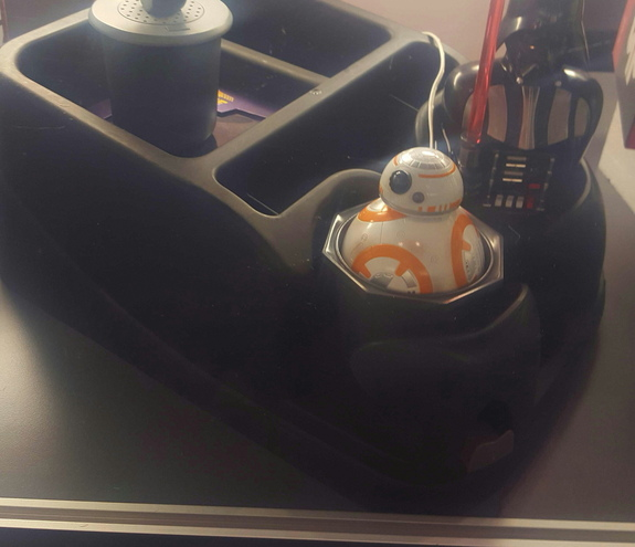 The BB-8 car charger fits in a standard cupholder.