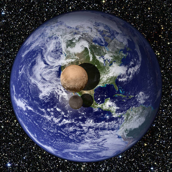 This graphic presents a view of Pluto and Charon as they would appear if placed slightly above Earth's surface and viewed from a great distance.