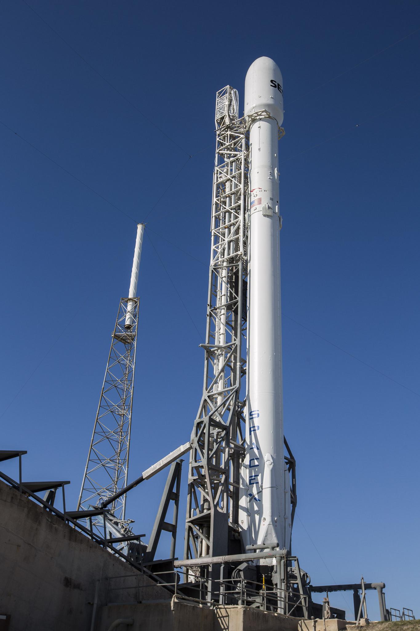 SES-9 Satellite, Falcon 9 Rocket on the Pad