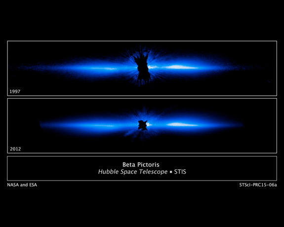 Hubble Space Telescope images of the edge-on disk of dust and gas that surrounds the star Beta Pictoris. The disk stretches more than 1,400 times the Earth-sun distance in each direction.
