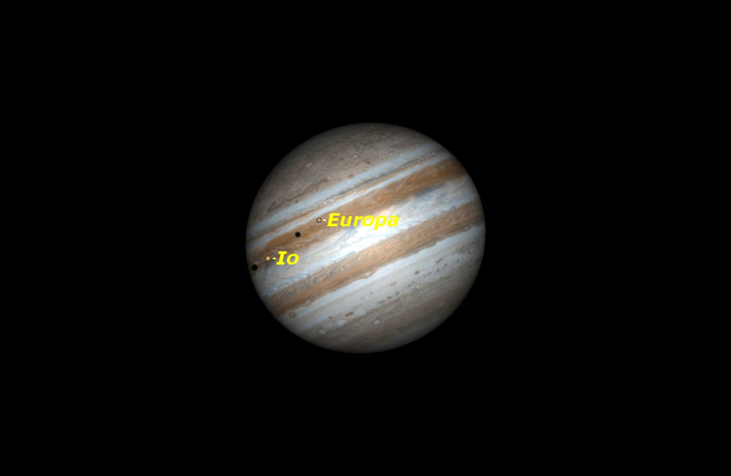 Double shadow transit on Jupiter, March 14, 2016