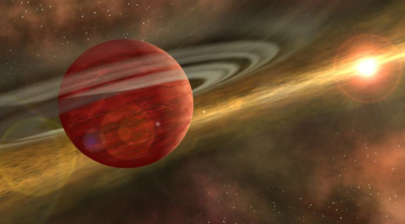 An artist's impression of a young gas giant planet still swathed in traces of a late-stage protoplanetary disk.