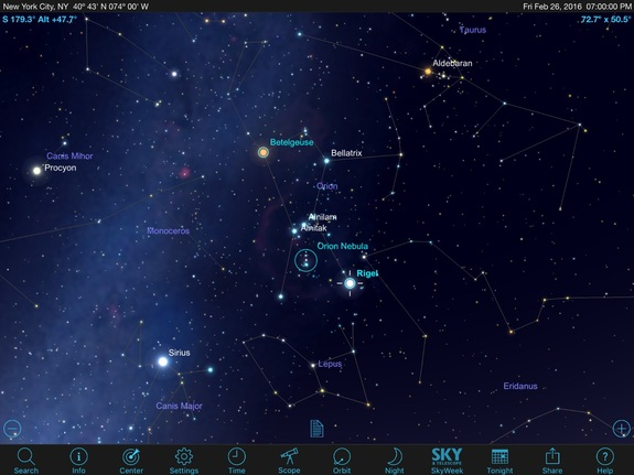 Use the stargazing app on your mobile device to spot the constellation Orion, The Hunter. His famous three-star belt is well placed due south in the evening. Your app should show you the bright reddish star Betelgeuse at his eastern shoulder, the bright-blue star Rigel at his western foot and the beautiful Orion Nebula, also known as Messier 42, in the sword hanging below his belt.