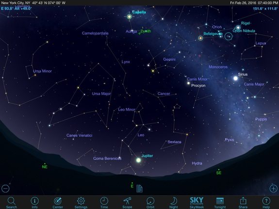 Nearly overhead in late-February skies is the bright-yellow star Capella in the constellation Auriga, the Charioteer, and low in the east will be very bright Jupiter, king of the planets, which is sitting just below Leo the Lion.