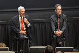 """Astronaut Gene Cernan and """"The Last Man on the Moon"""" director Mark Craig at the Houston premiere of the new documentary, Feb. 25, 2016."""