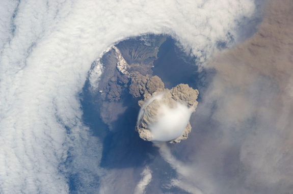 Astronauts on the International Space Station captured footage of the 2009 Sarychev eruption.