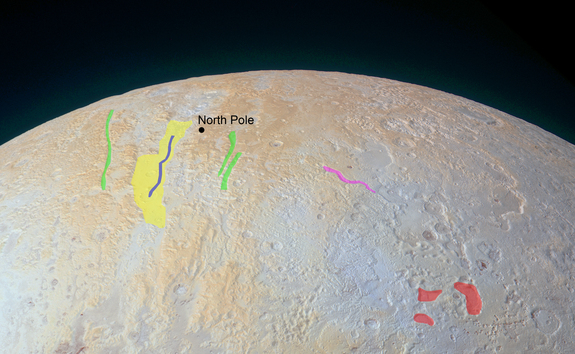Pluto's North Pole Canyons Annotated