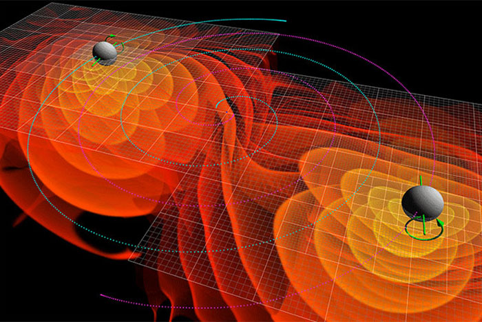 Black holes merging simulation, gravitational waves
