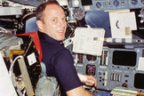 Jack Lousma, seen here aboard space shuttle Columbia in 1982, is the only person to fly in space who was born on Feb. 29, a leap day.