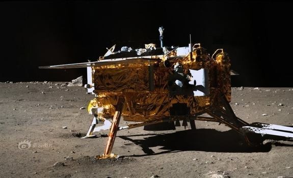 Image of China's Chang'e 3 lunar lander taken by Yutu rover. Equipment on the stationary lander continues to operate after landing on the Moon in December of 2013.
