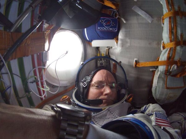 Scott Kelly in Soyuz Spacecraft