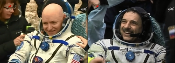 NASA astronaut Scott Kelly (left) and Russian cosmonaut Mikhail Kornienko enjoy fresh air for the first time in 340 days after nearly a year living on the International Space Station. These images were taken after Kelly, Kornienko and crewmate Sergey Volkov landed their Soyuz in a remote region of Kazakhstan on March 2, 2016 local time.