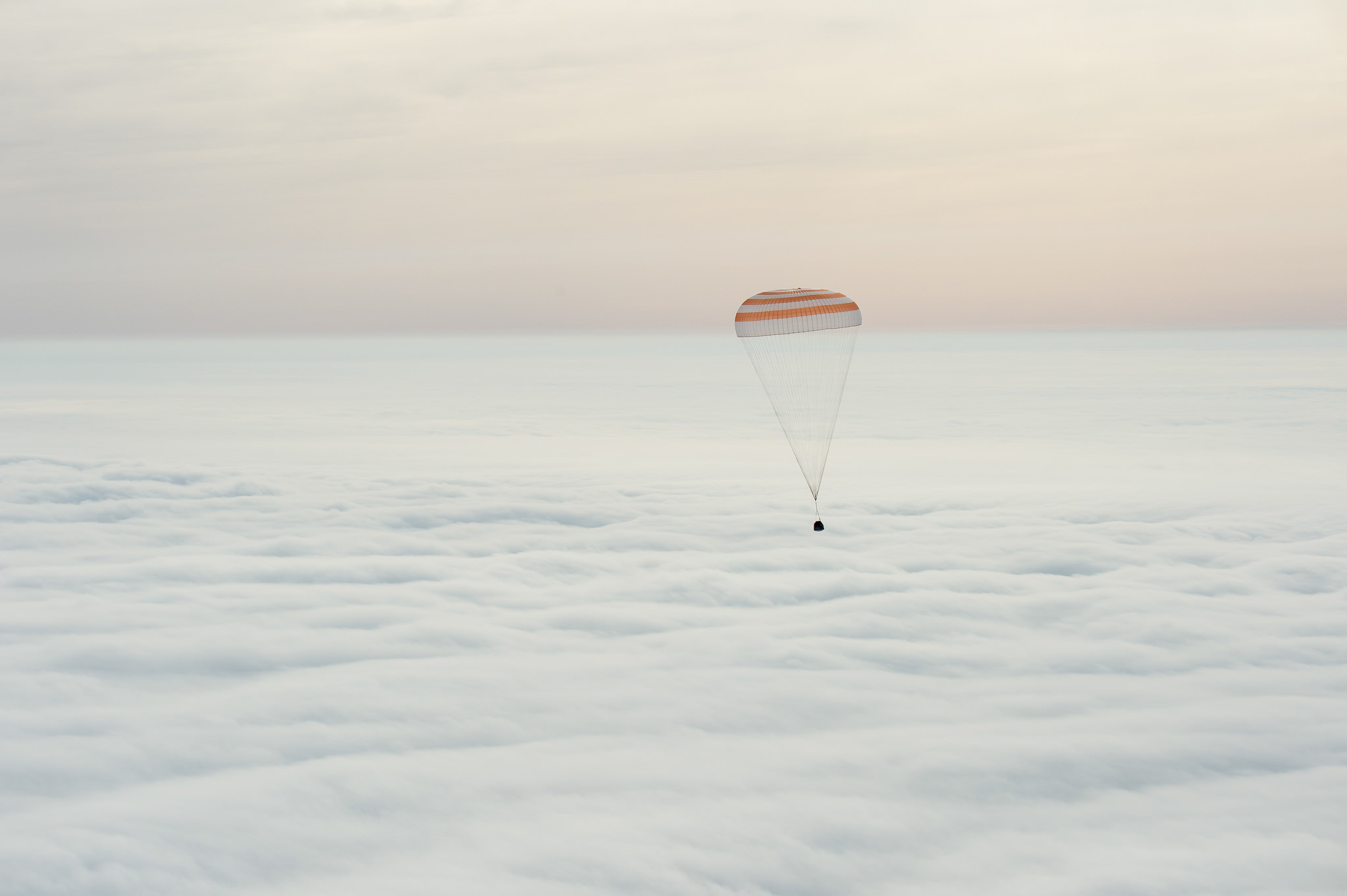 The Soyuz TMA-18M spacecraft is seen as it lands with Expedition 46 Commander Scott Kelly of NASA and Russian cosmonauts Mikhail Kornienko and Sergey Volkov of Roscosmos near the town of Zhezkazgan, Kazakhstan on Wednesday, March 2, 2016 (Kazakh time).
