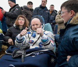 NASA astronaut Scott Kelly gives two thumbs up while resting up from a 340-day mission to the International Space Station. Kelly and two Russian crewmates landed their Soyuz capsule in a remote area of Kazakhstan on March 2, 2016 (Kazakh time).