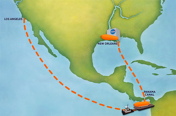 Map illustrating the basic path that External Tank 94 will be barged from the Michoud Assembly Facility outside New Orleans, through the Panama Canal to Marina del Rey in Los Angeles.