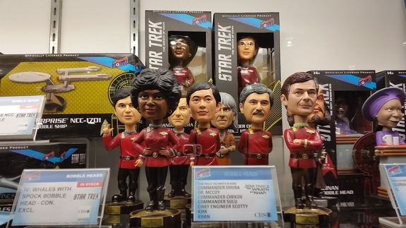 "Bobble heads of the ""Star Trek"" original series crew, from Bif Bang Pow!"