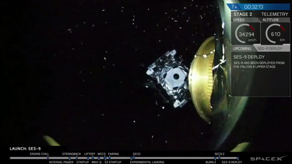 The SES-9 communications satellite separates from the upper stage of SpaceX's Falcon 9 rocket in this view from an onboard camera beamed to Earth during a live webcast of the successful launch on March 4, 2016.