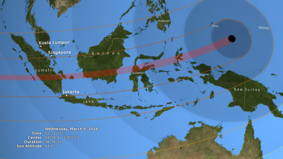 On March 9, 2016, a total solar eclipse will be visible to skywatchers across Indonesia and parts of southeast Asia. This NASA graphic depicts the 100-mile-wide path of totality (in dark red) for the event, which will occur late on March 8 Eastern Time.